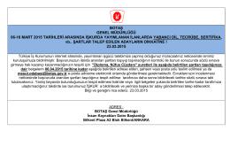 botaş genel müdürlüğü 06-16 mart 2015 tarihleri arasında işkurda
