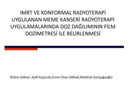 IMRT Ve Konformal Radyoterapi Uygulanan Meme Kanseri