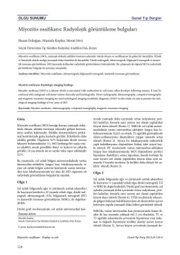 Miyozitis ossifikans: Radyolojik görüntüleme