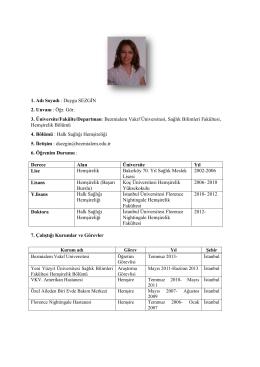Öğr. Gör. Duygu SEZGİN - Sağlık Bilimleri Fakültesi