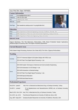 Detaylı Özgeçmiş - Çankaya Üniversitesi