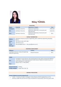 Nilay YÜKSEL - Celal Bayar Üniversitesi