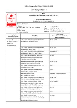 Akreditasyon Sertifikası Eki (Sayfa 1/54) Akreditasyon Kapsamı