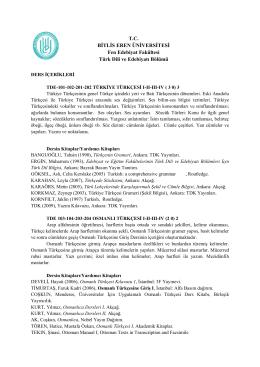 TC BİTLİS EREN ÜNİVERSİTESİ Fen Edebiyat Fakültesi Türk Dili ve