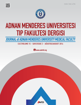 JOURNAL of ADNAN MENDERES UNIVERSITY MEDICAL FACULTY
