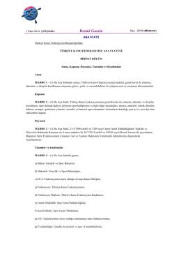 Ana Statü - Türkiye Kano Federasyonu