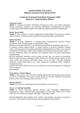 Araştırma Projelerini Destekleme Programı (ARP)
