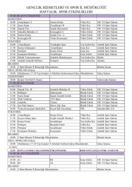 10-16 OCAK 2015 HAFTALIK BÜLTEN