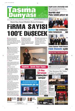 Taşıma Dünyası Gazetesi-163 PDF 24 Kasım 2014 tarihli sayısını