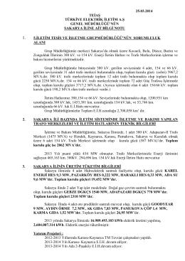 Sakarya İl Bilgileri - Teiaş 5. İletim Tesis ve İşletme Grup Müdürlüğü