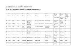 2014-2015 Gelen öğrenci listesi için tıklayınız.