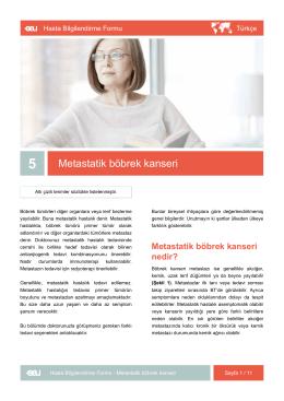 Metastatik böbrek kanseri - EAU Patient Information