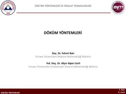 Döküm Yöntemleri - A. Alper Cerit, PhD