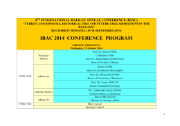 IBAC 2014 CONFERENCE PROGRAM