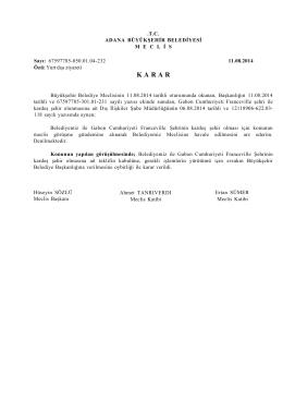 Ağustos 2014 Tarihli Meclis Kararı