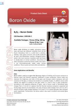 Boron Oxide - Eti Maden İşletmeleri