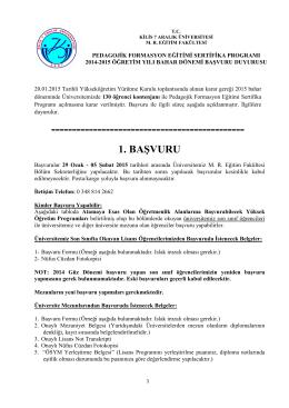 pedagojik formasyon eğitimi sertifika programı başvuru formu