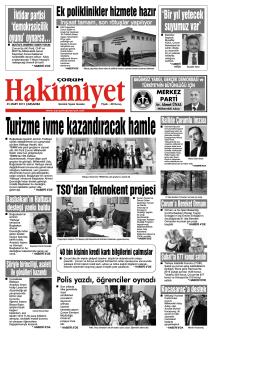 25 Mart 2015 Çarşamba - Çorum Hakimiyet Gazetesi