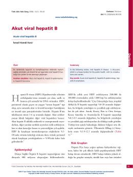 PDF - Akut viral hepatit B - Türkiye Aile Hekimliği Dergisi