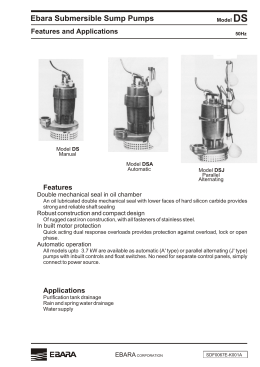 Ebara Submersible Sump Pumps Dimensions with QDC