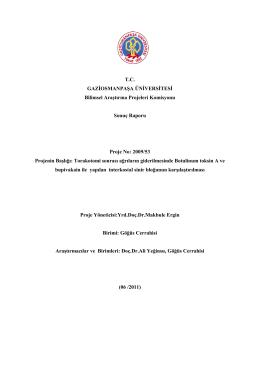 T.C. GAZİOSMANPAŞA ÜNİVERSİTESİ Bilimsel Araştırma Projeleri