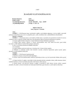 6331 sayılı İş Sağlığı ve Güvenliği Yasasının