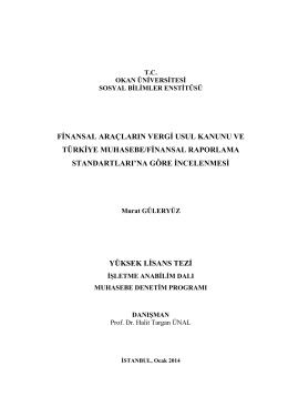 finansal araçların vergi usul kanunu ve türkiye muhasebe/finansal