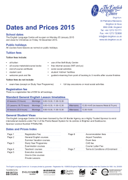 Dates and Prices 2015 - The English Language Centre