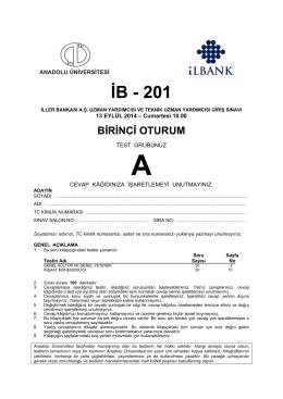 İB - 201 - Anadolu Üniversitesi Sınav Hizmetleri