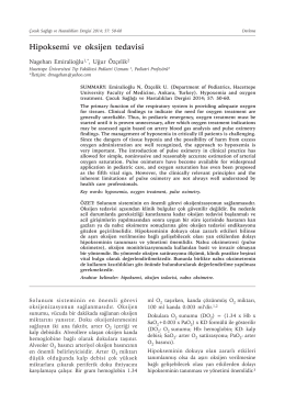 Hipoksemi ve oksijen tedavisi - Çocuk Sağlığı ve Hastalıkları Dergisi
