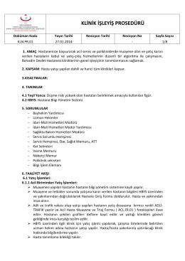 kln.pr.01 klinik işleyiş prosedürü