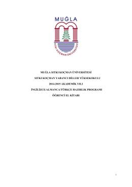 Öğrenci El Kitabı 2014-2015 - Sıtkı Koçman Yabancı Diller
