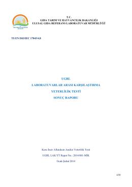 ugrl laboratuvarlar arası karşılaştırma yeterlilik testi sonuç raporu