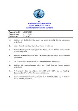 03.04.2014 Tarih ve 2014-12 Sayılı Karar