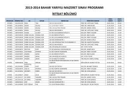 2013-2014 bahar yarıyılı mazeret ara sınav programı