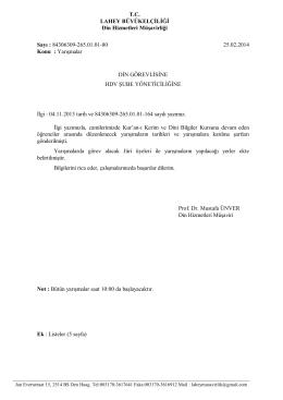 Sayı : B - Hollanda Diyanet Vakfı