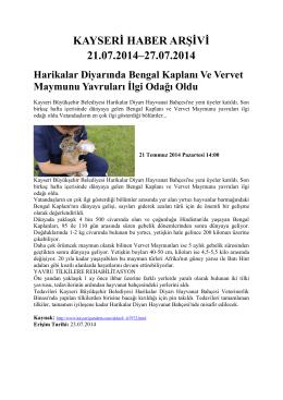 kayseri haber arşivi 21.07.2014–27.07.2014 - Kayham