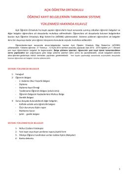 açık öğretim ortaokulu öğrenci kayıt belgelerinin taranarak sisteme