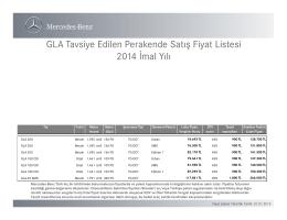 Yeni GLA fiyat listesi - Mercedes-Benz