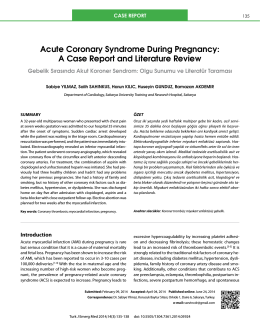 Acute Coronary Syndrome During Pregnancy: A