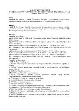 Yabancı Uyruklu Öğrenci Kayıt Kabul Yönergesi - kbü
