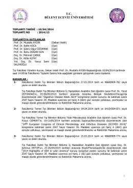 10/04/2014 Tıp Fakültesi Yönetim Kurulu Kararı