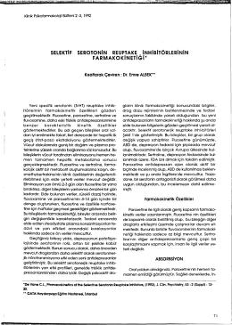 selektif serotonin reuptake inhibitörlerinin farmakokinetiği