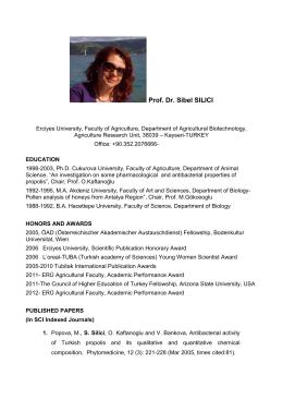 Prof. Dr. Sibel SILICI - Api