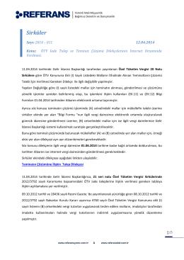 2014-011 ÖTV İade Talep ve Teminat Çözümü