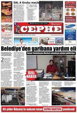 21.01.2015 Tarihli Cephe Gazetesi