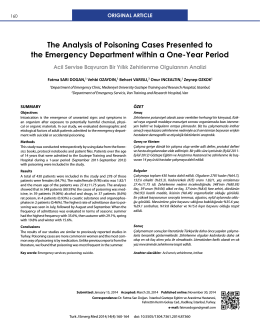 The Analysis of Poisoning Cases Presented to the