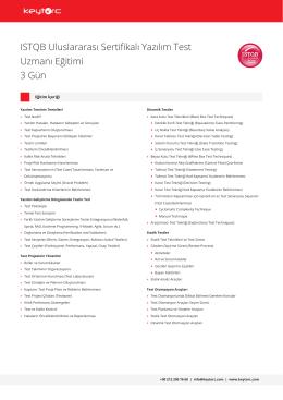 ISTQB Uluslararası Sertifikalı Yazılım Test Uzmanı Eğitimi
