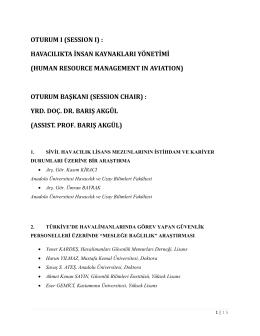 oturum ı - Türk Hava Kurumu Üniversitesi