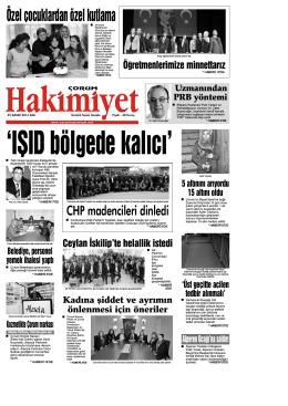(25 kas\375m.qxd) - Çorum Hakimiyet Gazetesi